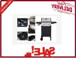 2-Burner Open Cart Propane Gas Grill Stainless Steel and Bla