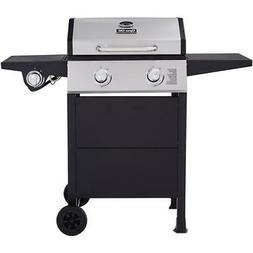 2-Burner Open Cart Propane Gas Grill in Stainless Steel and