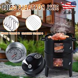 3 in 1Backyard Charcoal Vertical Smoker Grill BBQ Roaster St