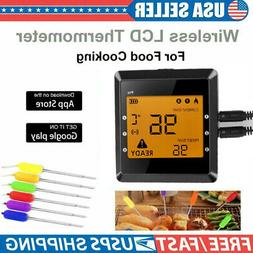 6 probes wireless bluetooth bbq meat thermometer