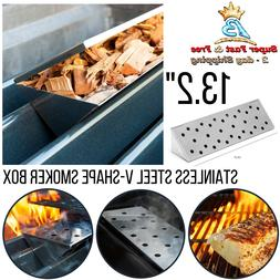 BBQ Gas Grill Long V Shape Stainless Steel Smoker Box Hinged