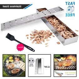 BBQ Smoker Box Grill Wood Chips Holder Hinged Lid Stainless