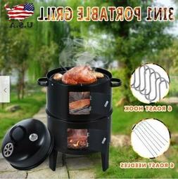 3 in 1 Charcoal Vertical Smoker Grill BBQ Roaster Steel Barb