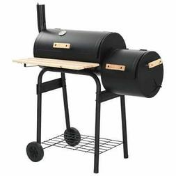 Classic BBQ Offset Smoker Grill for Charcoal or Wood, with C