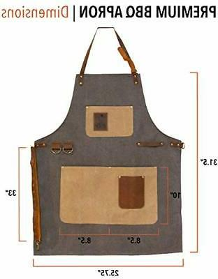 BBQ Apron - Adjustable Canvas Cooking Duty BBQ Smoker