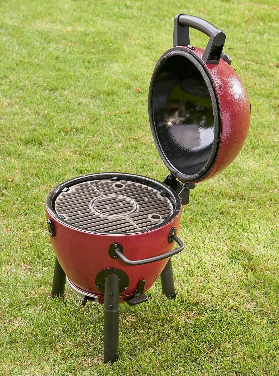 Char-Griller Red Charcoal Grill smoker barbecuing