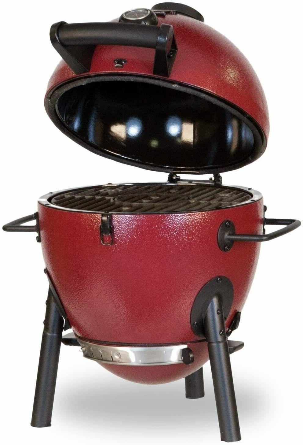 Char-Griller Red kamado smoker barbecuing