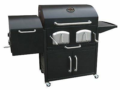 charcoal grill offset smoker box dual grates
