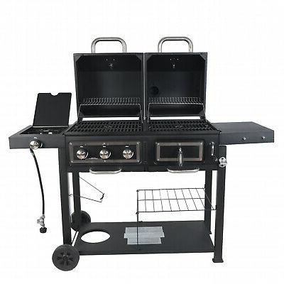 Gas Charcoal Combo BBQ Barbecue Outdoor Cooker