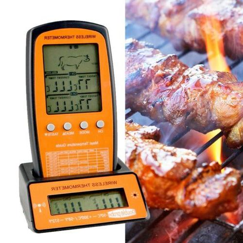 wireless remote digital cooking meat thermometer dual