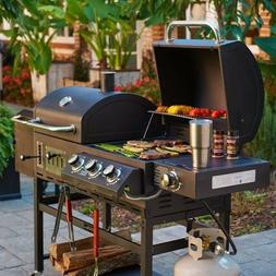 Outdoor Gourmet Barbecue Grill and Smoker Box Hybrid BBQ Gas