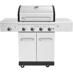 Propane Gas Grill With Side Burner And Smoker Box 4-Burner S