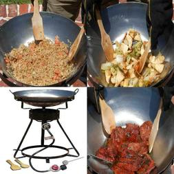 Wok Steel Kitchen Grill Smoker BBQ Portable Propane Cooker w
